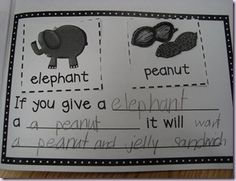 """Create this book to go along with """"If You Give a Mouse a Cookie"""" Pair and animal and food and say what would happen."""