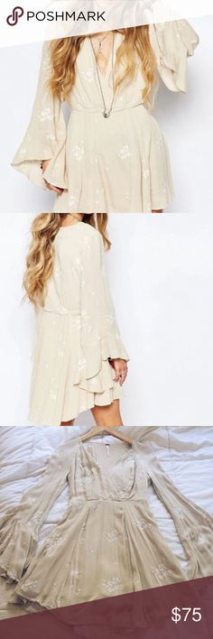 Free People Jasmine Embroidered Dress 2 Beautiful Jasmine dress from Free People! Amazing almond color, super flattering on all body types! Bought this in a couple different sizes to make sure it fit. New without tags, size 2. Free People Dresses Mini