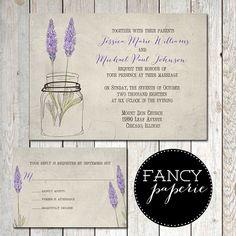 Rustic Lavender Mason Jar Wedding Invitation -love