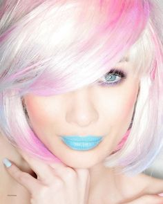 What a fun idea for a photo shoot. Love the pale bombshell blonde with hints of Pink. the blue is fun to bring out her eyes. Love Hair, Gorgeous Hair, Color Fantasia, Blue Lipstick, Hair Affair, Color Rosa, Rainbow Hair, Crazy Hair, Pink Hair