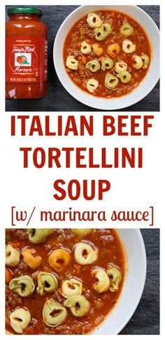 Italian Beef Tortellini Soup is made with jarred marinara sauce and lean ground beef. Tricolored tortellini make it super kid-friendly too! @MomNutrition