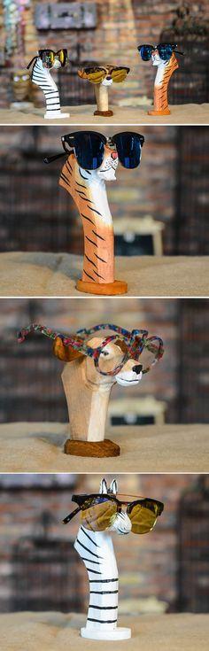 Carved Wood Animal Eyeglass Sunglasses Display Stand Holder