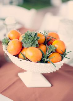 Use fruit in your centerpieces to stay on budget for reception decor. DIY your cocktail hour centerpieces or fill out dinner table floral ar Non Floral Centerpieces, Succulent Centerpieces, Wedding Table Centerpieces, Reception Decorations, Food Centerpieces, Centerpiece Flowers, Wedding Tables, Fruit Centerpiece Ideas, Floral Arrangements