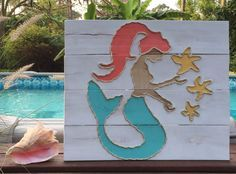 Handmade Mermaid with Rope Beach Pallet Art by BeachByDesignCo on Etsy https://www.etsy.com/listing/227268611/handmade-mermaid-with-rope-beach-pallet