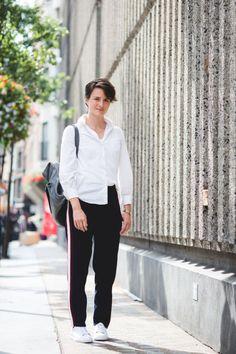 Whistles trainers, trousers and rucksack, Zara shirt
