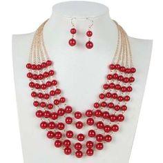 Set Collar Y Aretes De Perla Y Cristal Moda Bisuteria Fina - $ 155.00