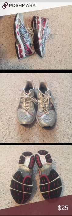 Athletic Shoes Shoes still have good tread. Colors are red, silver, and white. See photos for overall condition. Asics Shoes Athletic Shoes