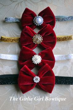 Christmas headbands Holiday headbands Red by girliebowtique, $12.95
