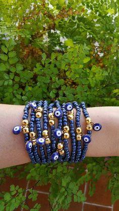 valentine gift  blue evil eye  navy blue bracelets  by TresJoliePT