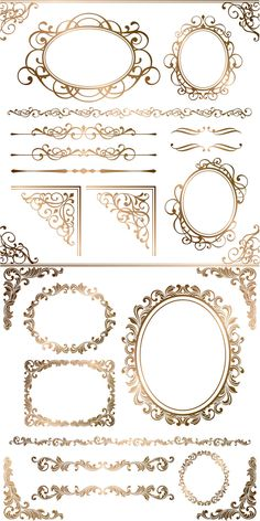 Set of vector gold ornamental elements and frames with floral ornaments for decorating cards, invitations Cambodian Art, Boarders And Frames, Border Templates, Arabesque, Swirls, Baroque, Design Elements, Vector Free, Decoupage