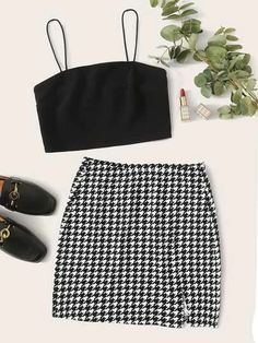 Solid Cami Crop Top & Houndstooth Split Skirt SetCheck out this Solid Cami Crop Top & Houndstooth Split Skirt Set on Romwe and explore more to meet your fashion needs! Lazy Outfits, Cute Comfy Outfits, Girl Outfits, Casual Outfits, Fashion Outfits, Cami Crop Top, Cami Tops, Houndstooth Skirt, Split Skirt