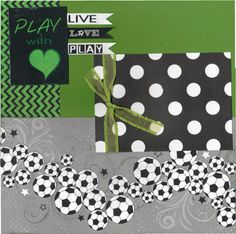 2 page Scrapbooking Layout Kit -Play with Heart - Soccer by CropALatteToGo on Etsy