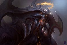 Some Diablo fanart for the upcoming Diablo 3 Fantasy Demon, Demon Art, Dark Fantasy, Fantasy Illustration, Digital Illustration, Dragons, Tyler James, Concept Art World, Fanart