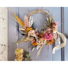 秋カラーのハーフリース   ハンドメイドマーケット minne Grapevine Wreath, Grape Vines, Floral Wreath, Wreaths, Decor, Flower Crowns, Door Wreaths, Decorating, Deco Mesh Wreaths