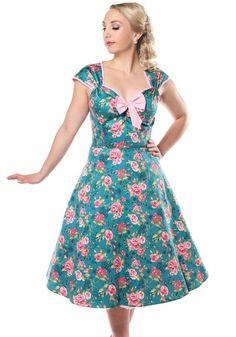 Isabella Dusty Rose, 50's mekko -  https://www.misswindyshop.com  #dress #vintage #fifties #floral #rose #pink #sweetheartneckline #bow #petticoat #elegance