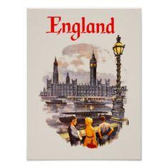 England travel poster - cyo diy customize unique design gift idea