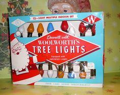1950s Christmas Lights | Vintage 1950s Woolworth's Christmas Tree Light by EvelynnsAlcove Vintage Christmas Lights, 1950s Christmas, Christmas Past, Modern Christmas, Tree Lighting, Vintage Box, Favorite Holiday, Blue And White, Etsy
