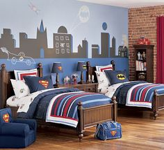 Love these simple but graphic quilts from Pottery Barn Kids. (My son would also love this bedroom in total.)