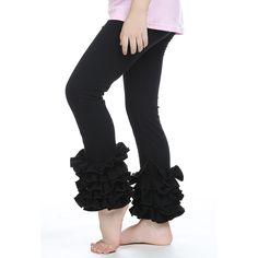 1 Pcs Girls Leggings Kids Ruffle Leggings Solid Color Cotton Trousers Children Baby Girl Ruffle Pants With 3 Ruffles Black Red
