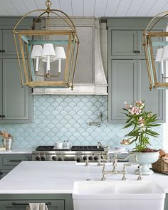 Fish Scale Tile Backsplash - Design photos, ideas and inspiration. Amazing gallery of interior design and decorating ideas of Fish Scale Tile Backsplash in dining rooms, bathrooms, kitchens by elite interior designers. Beautiful Kitchens, Cool Kitchens, Beautiful Homes, House Beautiful, Coastal Kitchens, Dream Kitchens, White Kitchens, Beautiful Interiors, Kitchen And Bath
