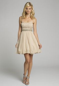 Homecoming Dresses - Strapless Lace Short Dress with Beaded Trim from Camille La Vie and Group USA