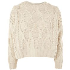 Topshop Cropped Cable Knit Jumper ($44) ❤ liked on Polyvore featuring tops, sweaters, topshop, oatmeal, pink cable knit sweater, cropped sweater, topshop sweater, cable-knit sweater and crop tops