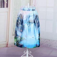 Women's Print Pleated Loose Knee Length Skirt
