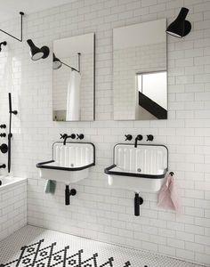 Modern home with Bath Room, Ceramic Tile Floor, Wall Mount Sink, Drop In Tub, Ceiling Lighting, Ceramic Tile Wall, One Piece Toilet, and Wall Lighting. Kids' Bathroom Photo 20 of Brooklyn Row 1