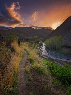 spring sunrise by saeed younesi.....  #landscape #sunrise #sunset #spring #color #nature #river #sun #clouds #cloudscape #cloudy #road #grass #green #landscapes #mountain #colorful