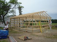 Trusses Raised - 24 x 30 pole barn garage construction - materials by Menards
