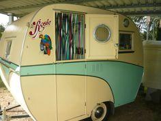 Rosie, australian vintage caravan......love the door strip curtains.