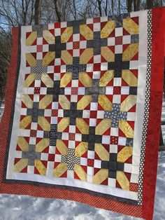 plus and  x quilt top red, white, yellow, black