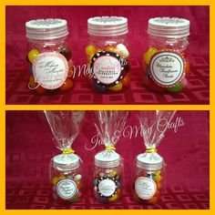 Mini Candy Jars  https://www.facebook.com/media/set/?set=a.295420057271685.1073741825.125436300936729&type=3