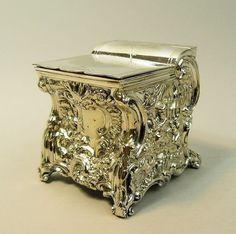 A FINE QUALITY ANTIQUE SILVER PLATED DAVENPORT DESK FORM TEA CADDY C.1880 // - Maria Elena Garcia -  ► www.pinterest.com/megardel/ ◀︎