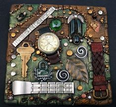 Mosaic Art, Mosaic Tiles, Metal Watch Bands, Fossil Watches, Handmade Tiles, Wood Watch, Carving, Clay, My Favorite Things