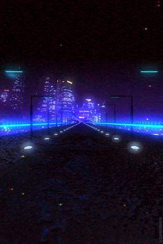 Animated Gif - Neon - Road by Night