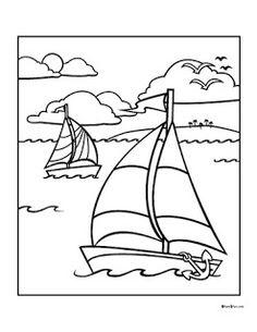Sailboat Clipart Image: Coloring Page of a Small Sailboat ...