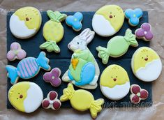 Sugar cookies decorated with royal icing. Buttercream Filling, Swiss Meringue Buttercream, Easter Cookies, Sugar Cookies, Royal Icing Decorations, Custom Cakes, Cookie Decorating, Cupcake Cakes, Birthdays