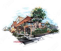 零基础景观,建筑,室内设计手绘基础表现班 Sketchbook Architecture, Landscape Architecture, Landscape Design, Architecture Design, Cool Pencil Drawings, Building Painting, House Sketch, Perspective Drawing, Factory Design
