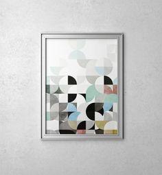 Impresiones de arte geométrico abstracto arte por WordKitty en Etsy