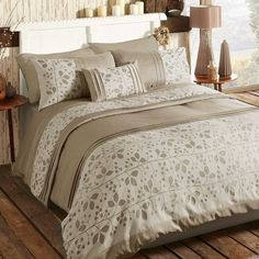 Autumn Leaf Duvet and Standard Pillowcase Set | Beautiful leaf cut out detailed bedlinen available in two gorgeous neutral colours. Duvet set comprises of duvet cover and pillowcase(s), one with the single and two with the double and king. #Kaleidoscope #Bedding #Bedroom #Home #Lifestyle #Style www.kaleidoscope.co.uk