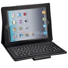Folding Leather Protective Case with Bluetooth Keyboard for iPad /iPad 2 /The new iPad (Black)