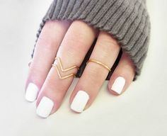 Gold Knuckle Ring Chevron<3