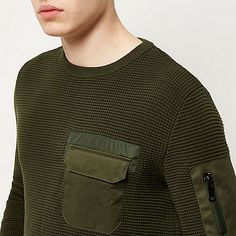 Khaki military knitted sweater - sweaters - sweaters / cardigans - men