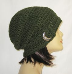 "slouch,beanie,hat,cap,decorated slouch,slouch with button,made to fit teens & adults 21-23"",sage with vintage style cresent button by Jeniebugs on Etsy"
