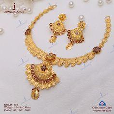 Gold Earrings Designs, Gold Jewellery Design, Necklace Designs, Gold Jewelry, Gold Designs, India Jewelry, Antique Jewelry, Choker Necklace Online, Necklace Set