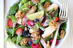 Salad: spinach, strawberries, walnuts, blackberries, raspberries, lime, grilled chicken and poppy seed dressing.