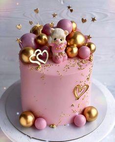 Birthday Cake With Flowers, 18th Birthday Cake, Beautiful Birthday Cakes, Baby Birthday Cakes, Beautiful Cake Designs, Beautiful Cakes, Amazing Cakes, Birthday Cake Decorating, Cake Decorating Tips