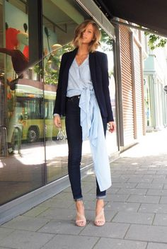 spring / summer - street style - street chic style - summer outfits - work outfits - office wear - casual outfits - black blazer + pale blue shirt dress + dark wash skinny jeans + nude strappy heeled sandals