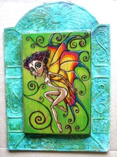 Fairy Butterfly Art Big Eye Mixed Media Copper Frame  by Lynndart